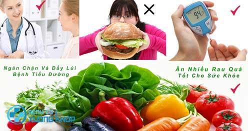 Một chế ăn nhiều ray xanh và hoa quả tươi là thực phẩm lành mạnh cho người tiểu đường